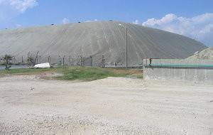 The mountain of toxic waste deposited next to Kazanli nesting beach.